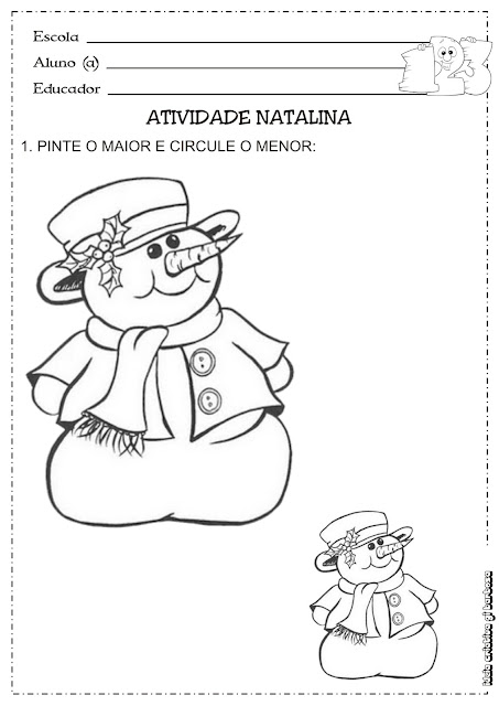 Atividade Natalina Conceito Maior/Menor