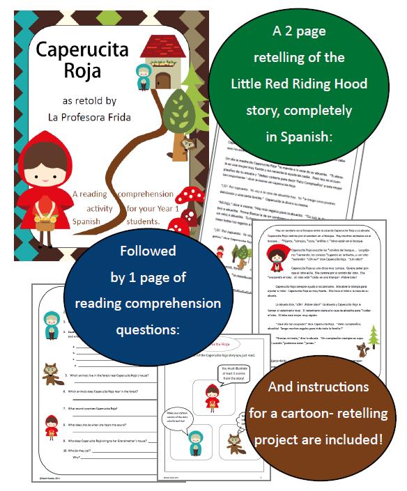 http://www.teacherspayteachers.com/Product/Caperucita-Roja-Little-Red-Riding-Hood-reading-comprehension-activities-1494204