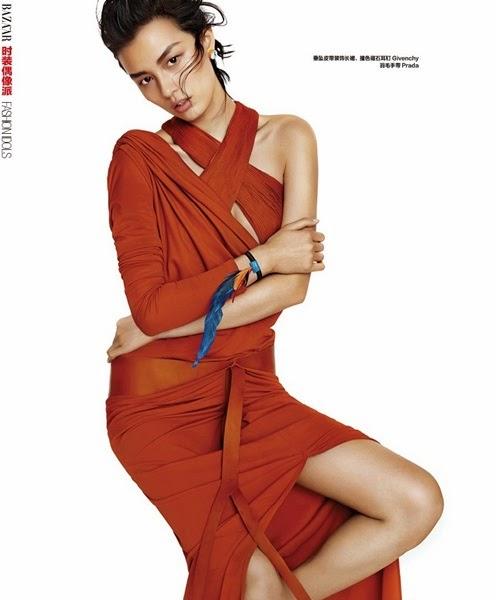 Givenchy SS 2014 Khaki / Orange Light Silk Jersey Draped Long Dress