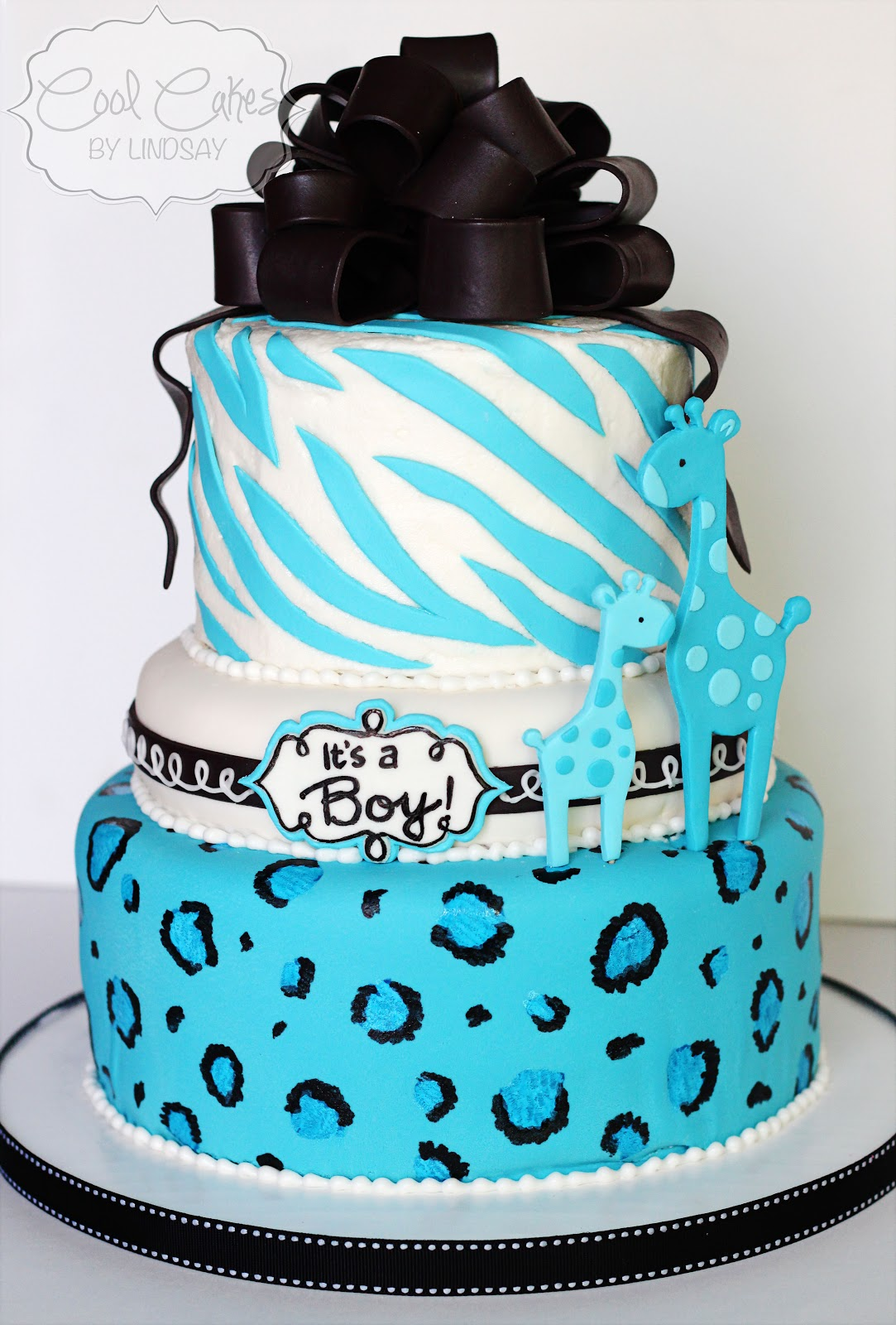 Cool Cakes by Lindsay: Teal and Black Giraffe Baby Shower Cake!