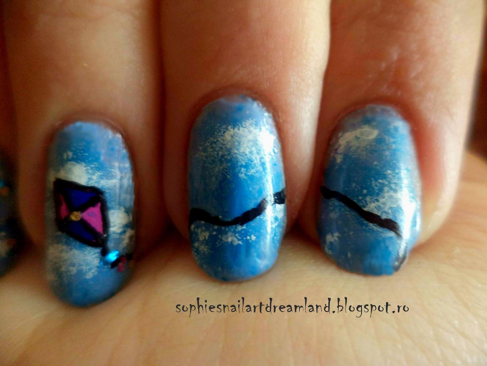 Alphabet nail art challenge - Letter K for... Kite! | Sophie\'s Nail ...