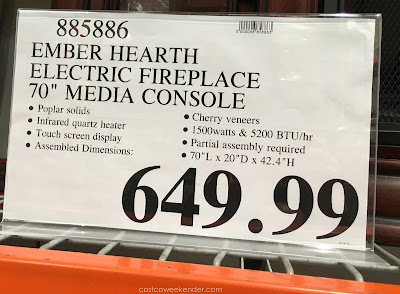 Deal for the Ember Hearth Electric Media Fireplace at Costco