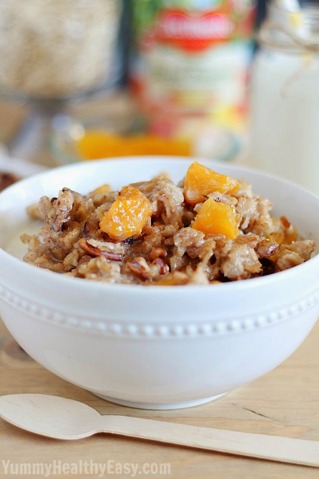 This Slow Cooker Peach Oatmeal is an easy, healthy and delicious breakfast! AD