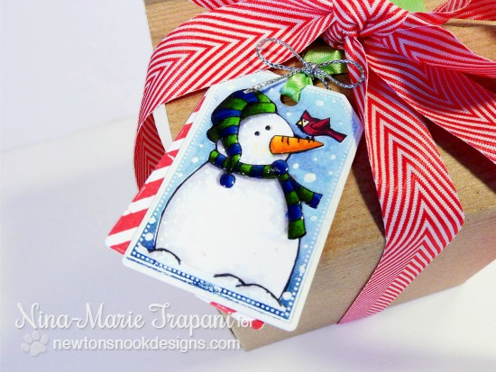 Snowman Tag by Nina-Marie Trapani | Jolly Tags Stamp and Die Set by Newton's Nook Designs #newtonsnook