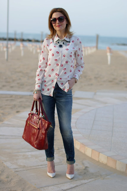 Sheinside long sleeved lips print shirt, Fabi pumps, Fashion and Cookies