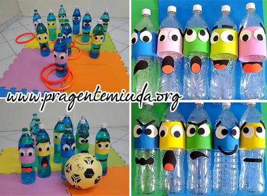 decorar jardim jogos:Jogo de boliche e argolas com de garrafa pet