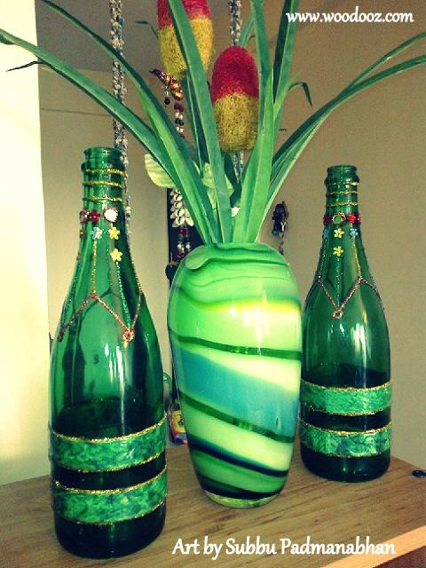 Art idea to upcycle wine bottles indian woodworking diy for Wine bottle artwork