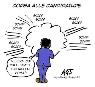 Roma, sindaco, candidature, vignetta satira