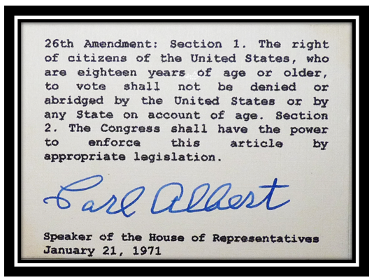 26th amendment The 26th amendment was a congressional activation of the adjustment of the voting age within the united states of america this amendment allowed for the national voting age to be adjusted to 18 years of age.