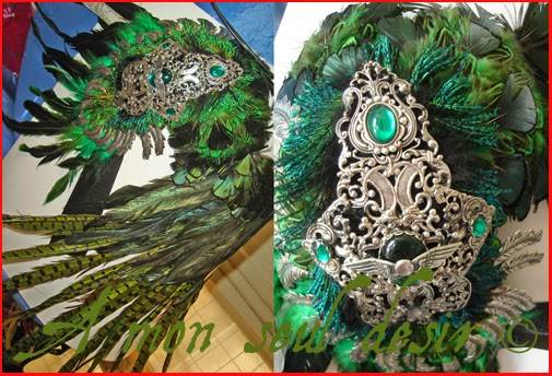 ailes épaules plumes vertes epaulettes green feathers wings shouder
