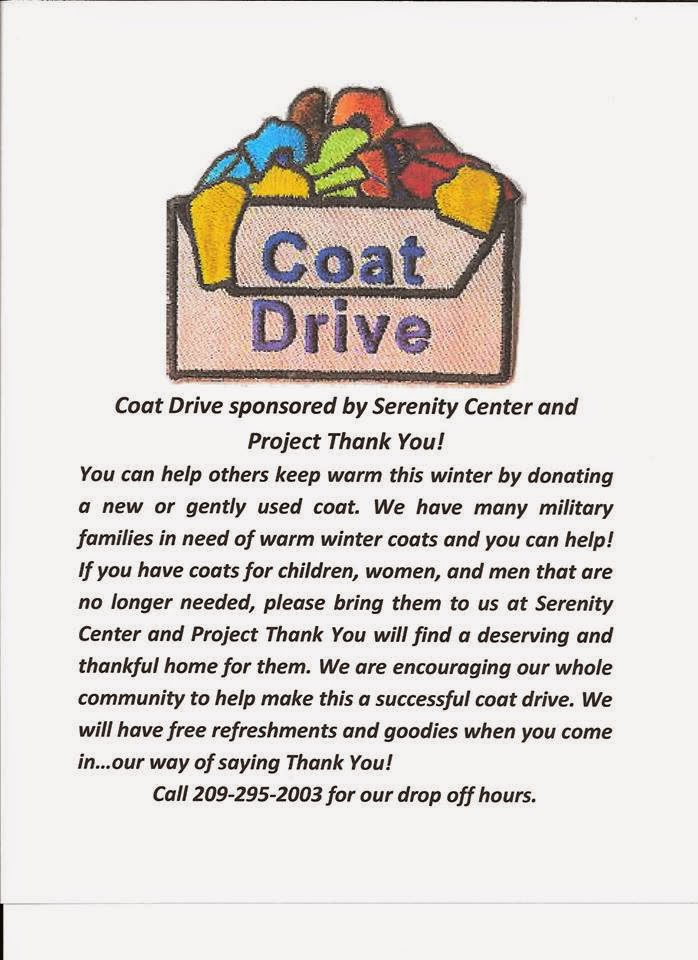 Coat Drive sponsored by Serenity Center and Project Thank You