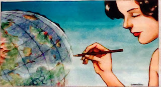 Illustrazione con una donna vicino a un mappamondo e con una matita in mano