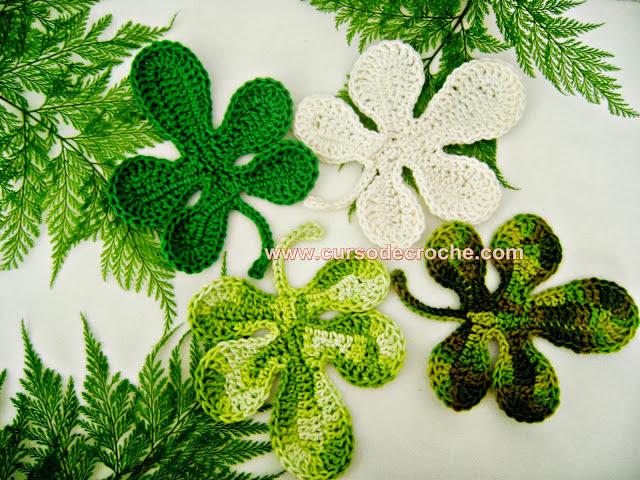 folhas em croche com edinir-croche