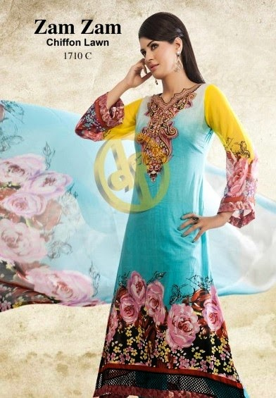 DawoodLawnsCollection2014 wwwfashionhuntworldblogspotcom 10 - Dawood Textiles Zam Zam Chiffon Lawn Collection 2014