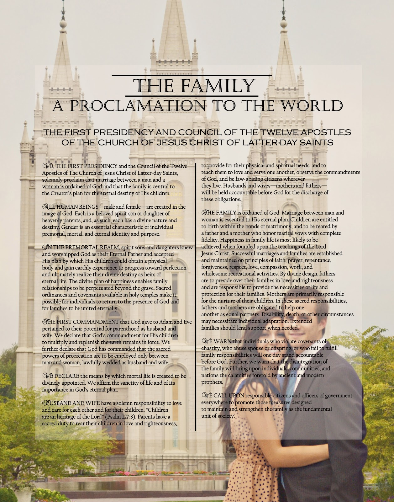 a pocket full of lds prints  family proclamation pictures