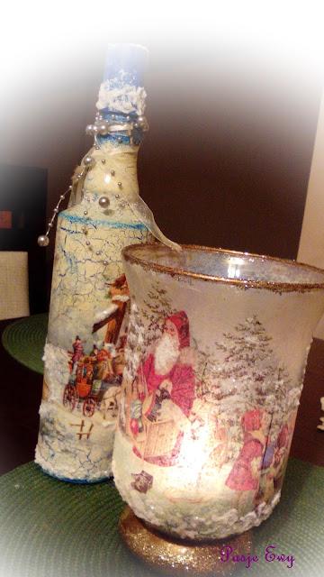 Świąteczna buteleczka i lampion