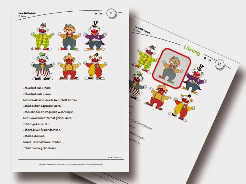 Logicals Grundschule Klasse 2-3 sinnentnehmendes Lesen Material kostenlos
