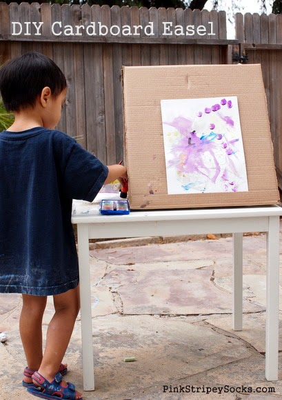 Turn a cardboard box into an art easel.  Great way to use recycled materials!