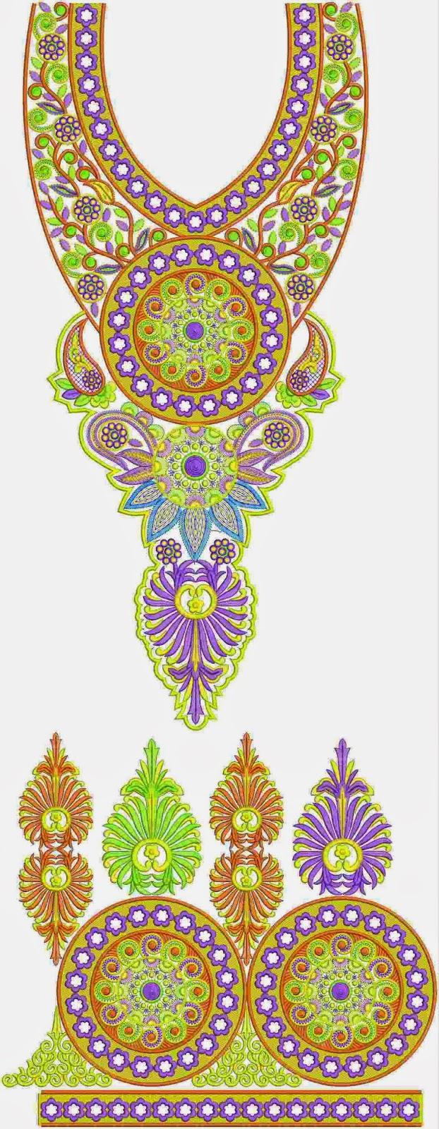 swaar primitief borduurwerk Kurti rok ontwerp