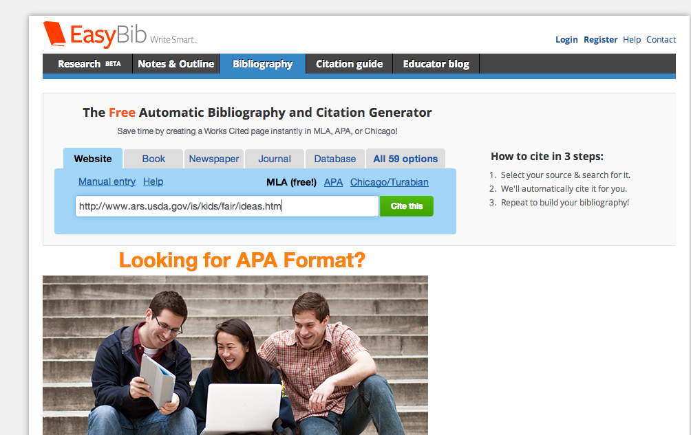 easybib project Automatic works cited and bibliography formatting for mla, apa and chicago/turabian citation styles now supports 7th edition of mla.