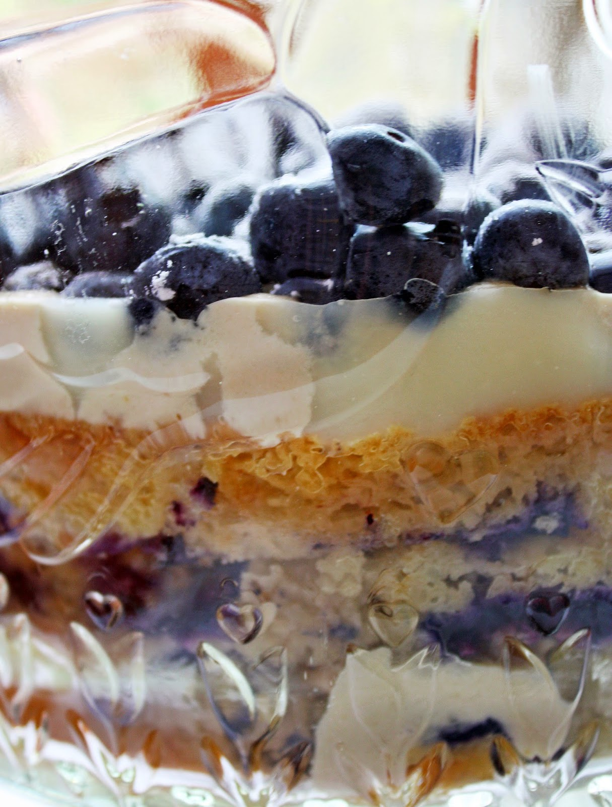 blueberry banana cake trifle with cheesecake mousse and lemon curd