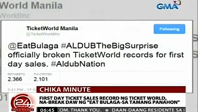 Ticket World Twitter post announcing that ALDUB broke the first day sales record