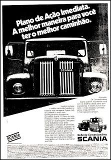 propaganda caminhão Scania anos 70; Saab Scania; Scania;  reclame de carros anos 70. brazilian advertising cars in the 70. os anos 70. história da década de 70; Brazil in the 70s; propaganda carros anos 70; Oswaldo Hernandez;