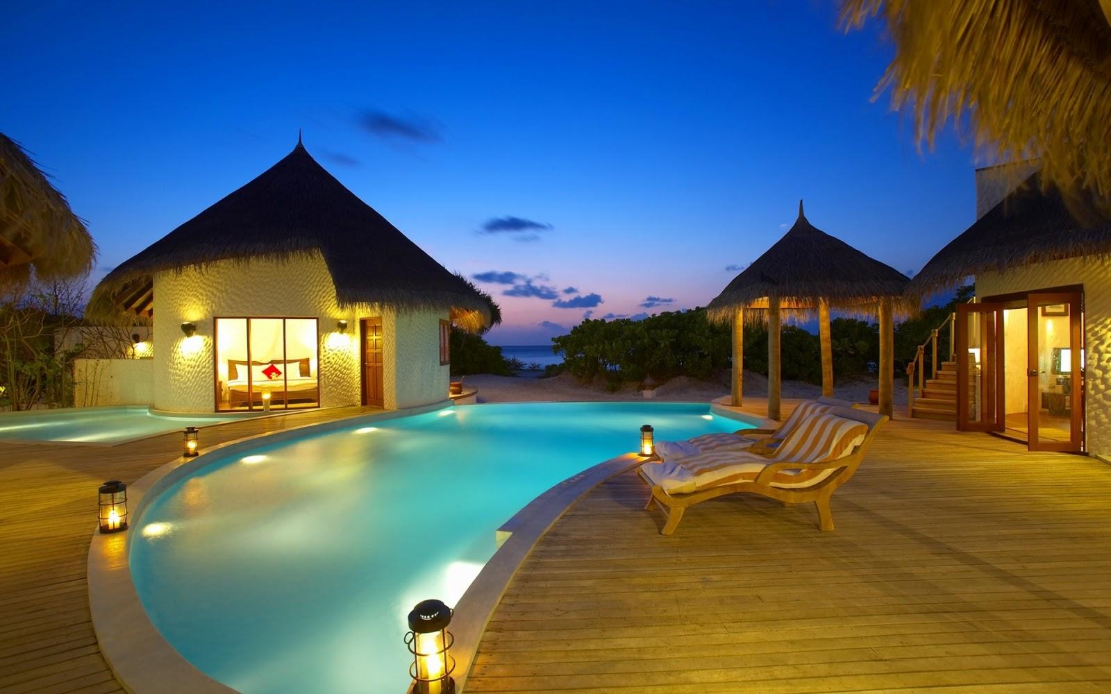 Banco de im genes hotel de 5 estrellas en las islas maldivas for Islas maldivas hoteles en el agua
