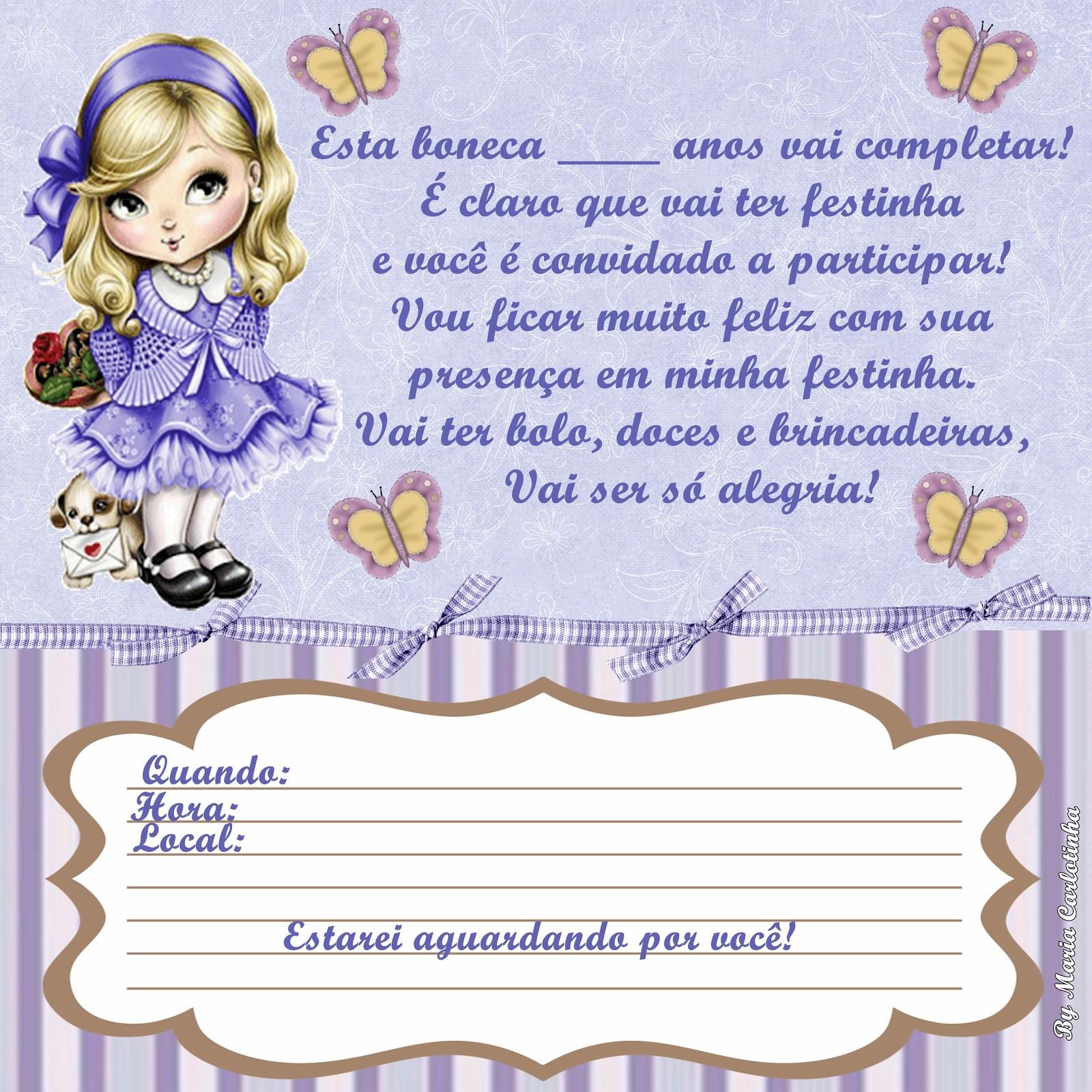 Convite De Anivers  Rio Jolie Lil  S E Rosa