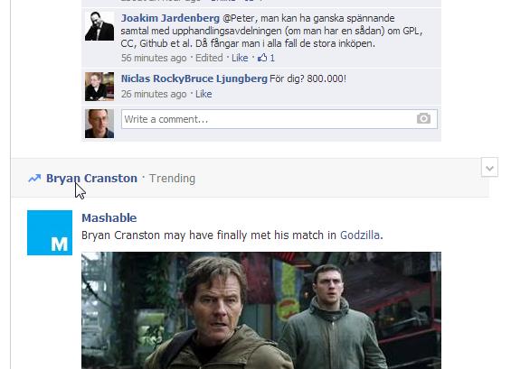 Något trendar på facebook i facebookflödet. Skärmbild.