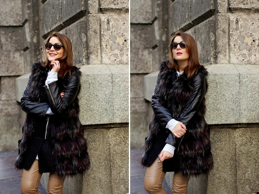 idea look cappotto nero e gilet in pelo