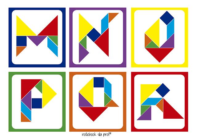 Notebook Da Prof 170 Cards De Letras Com Tangram