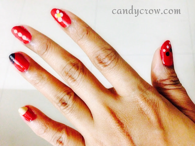 Easy Nail Art With Red Nail Polish