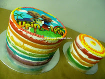 RAINBOW CAKE WITH  FROSTING CHEESE