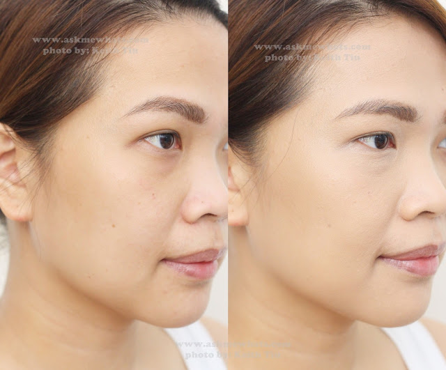 before and after photo using The Body Shop Fresh Nude Foundation