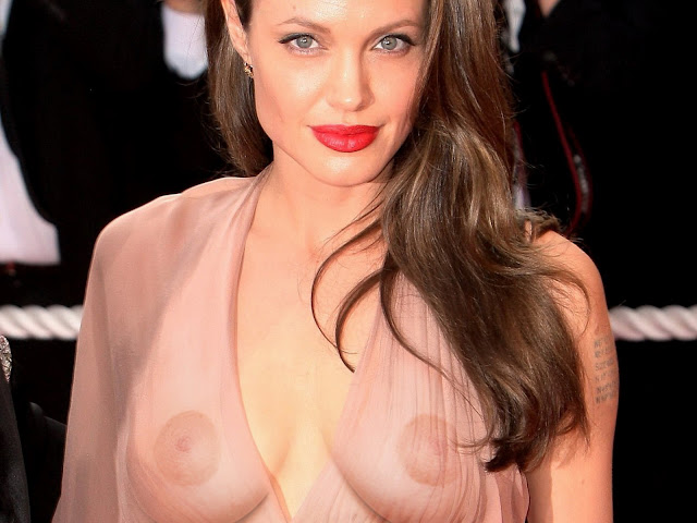 Angelina Jolie Big Boobs in See Through Dress