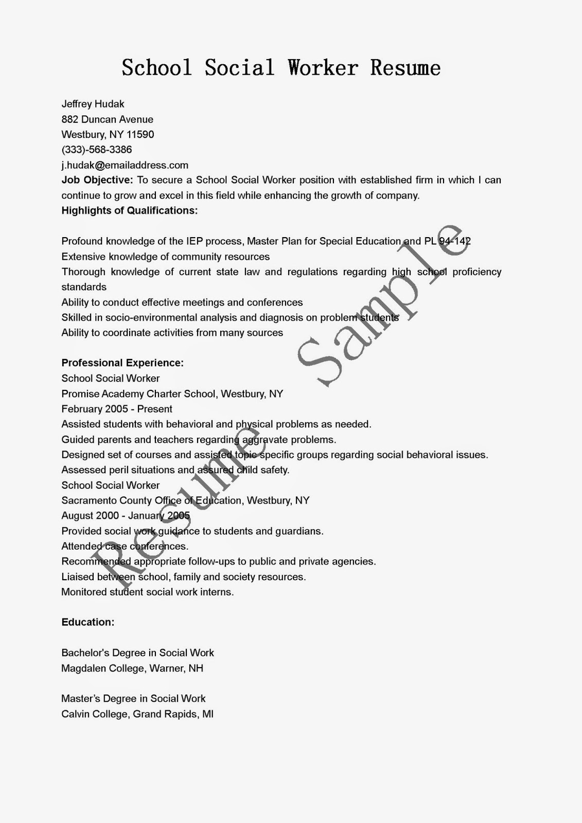 Resume Samples School Social Worker Resume Sample