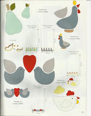 pano-de-prato - patchwork - galinha - PAP (diy) com molde