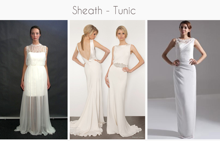 sheath and tunic wedding gowns