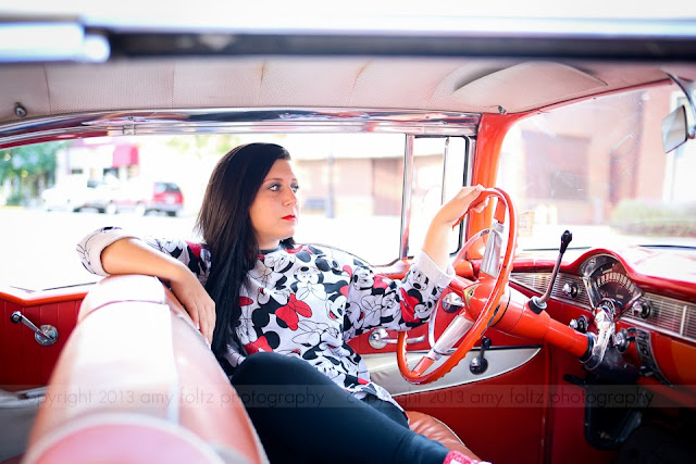 senior girl in 56 Chevy
