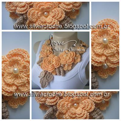 colar delicado de croche, maxi colar, maxi colar de croche, apostila, ensinando fazer colar de flores, como fazer colares de croche, como fazer colar de flores de croche, passo a passo colar de croche