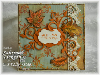 Stamps - Our Daily Bread Designs Autumn Blessings, ODBD Custom Fancy Foliage Die, ODBD Custom Fall Leaves and Acorn Die, ODBD Custom Antique Labels and Border Die