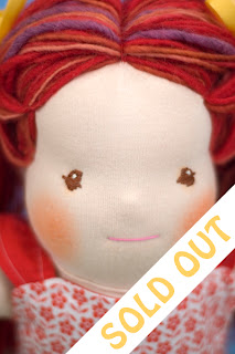 waldorf doll redhead red hair yarn natural