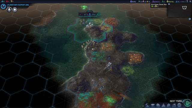 Screenshot of a volcanic planet in Civilization: Beyond Earth