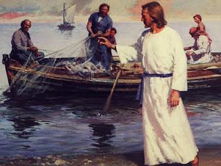 Jesus na praia com os pescadores