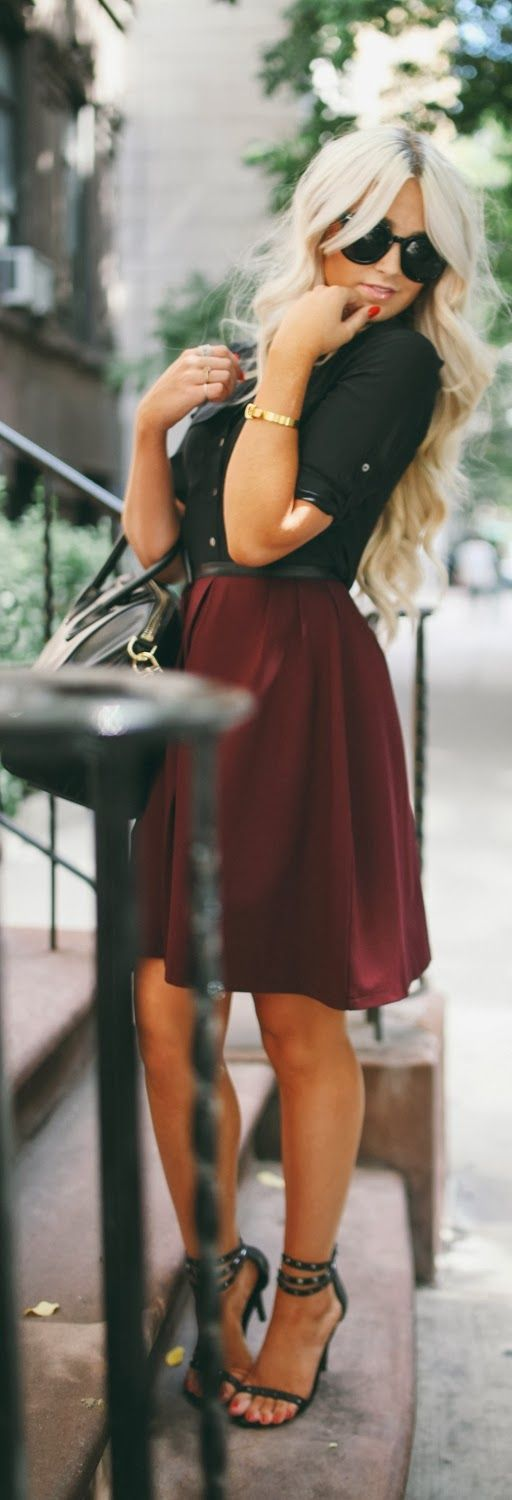 Gorgeous burgundy skirt and black top combo