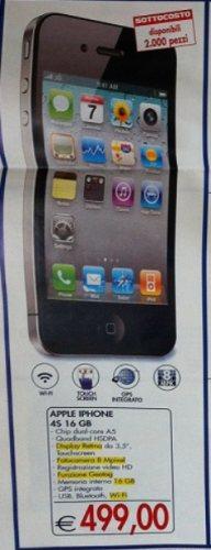 Nel volantino di metà marzo Esselunga propone il sottocosto con l'iPhone 4S a 499 euro