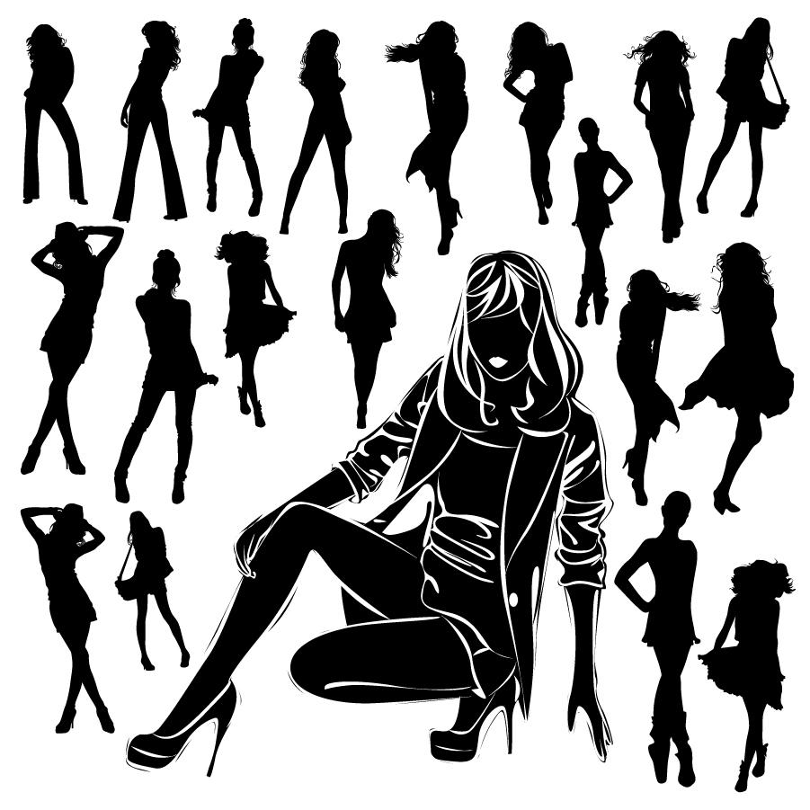 活発な女性のシルエット beautiful female silhouette イラスト素材