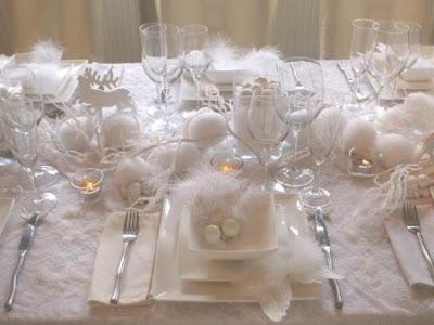 """Décoration de table de mariage """"blanc vaporeux """""""