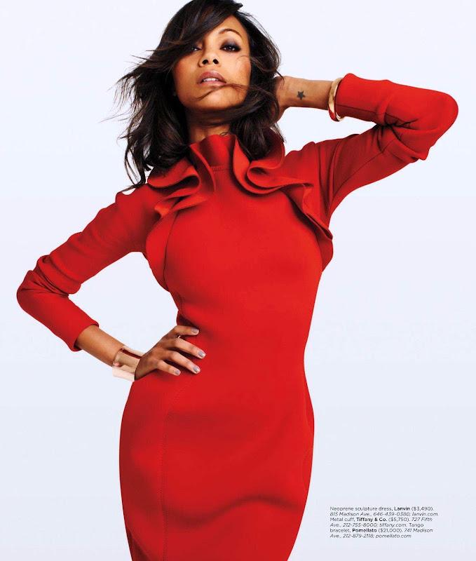 Zoe Saldana wearing a red dress